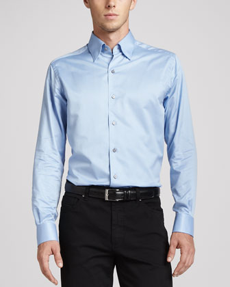 3-Ply Cotton Dress Shirt, Blue