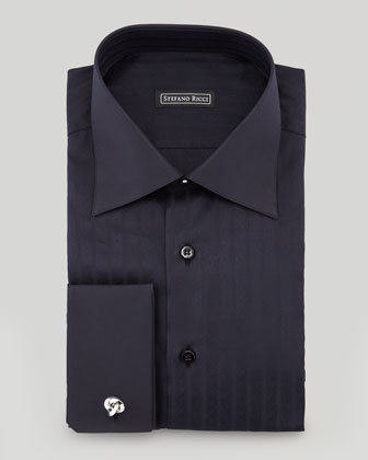 Textured Herringbone Dress Shirt, Black