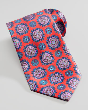 Circle Medallion Silk Tie, Red