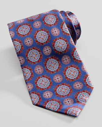 Circle Medallion Silk Tie, Blue
