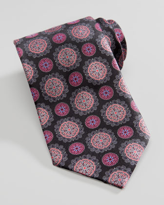 Circle Medallion Silk Tie, Black