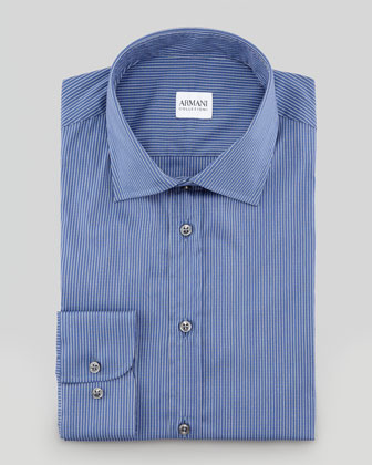 Grid Check Dress Shirt, Navy