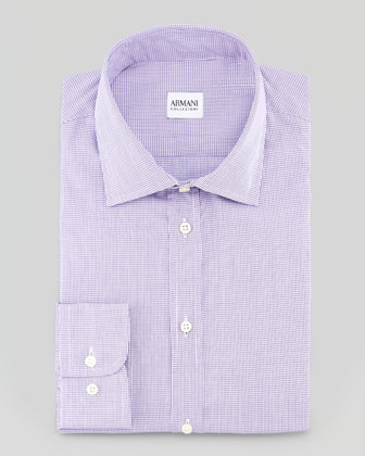 Micro Check Dress Shirt, Purple