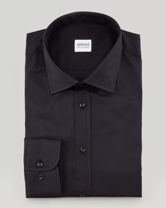 Solid Stretch Dress Shirt, Black