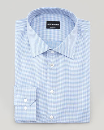 Textured Neat Dress Shirt, Blue