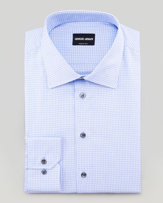 Textured Mini-Check Dress Shirt, Blue