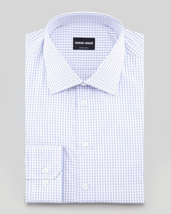 Striped Check Dress Shirt, Blue
