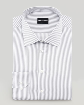 Track-Stripe Dress Shirt, Gray