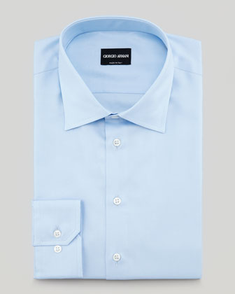 Textured Twill Dress Shirt, Light Blue