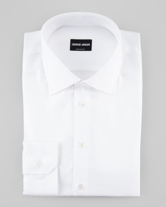 Diagonal Twill-Stripe Dress Shirt, White