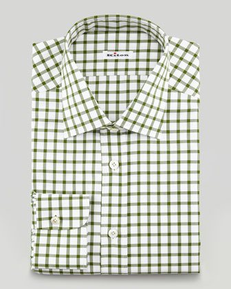 Windowpane Check Dress Shirt, Olive