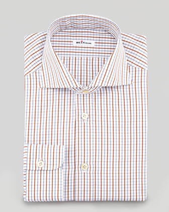 Check Dress Shirt, Brown/Blue