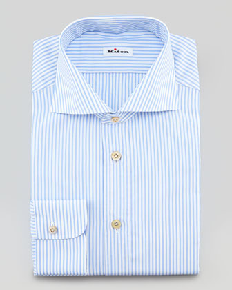 Striped Dress Shirt, White/Light Blue