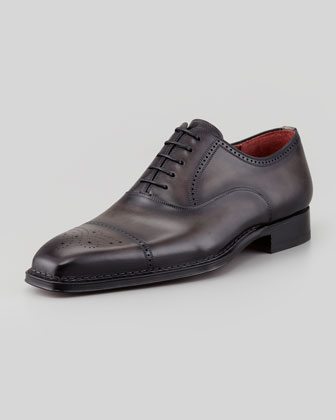 Perforated Cap-Toe Oxford, Gray