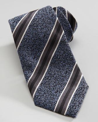Wide Speckled Stripe Tie, Blue