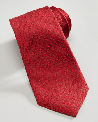 Solid Textured-Stripe Tie, Red