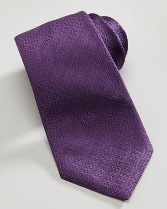 Solid Textured-Stripe Tie, Purple