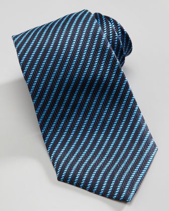 Diagonal Rope Stripe Tie, Blue