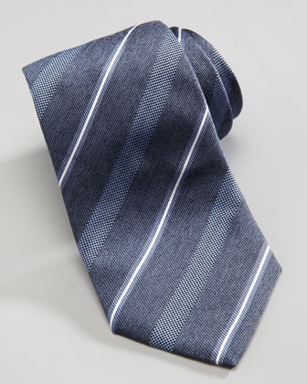 Wide Dotted Stripe Tie, Navy