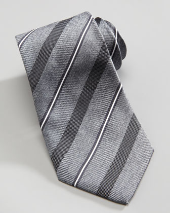 Wide Dotted Stripe Tie, Gray
