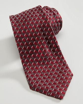 Basket Neat Silk Tie, Burgundy