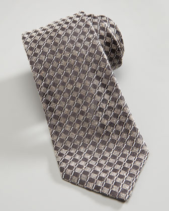 Basket Neat Silk Tie, Gray