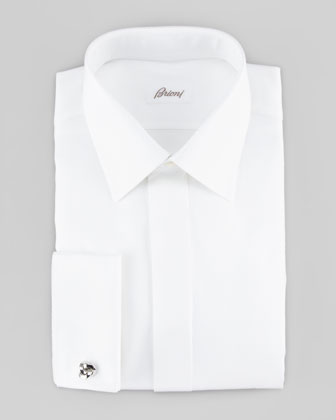 Diagonal Twill French-Cuff Dress Shirt, White