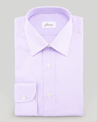 Mini-Bengal Striped Dress Shirt, Lavender/White