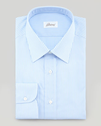 Satin Stripe Dress Shirt, Blue