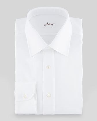 Tonal Herringbone Dress Shirt, White