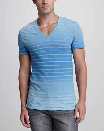 Striped Dip-Dye V-Neck Tee, Dark Blue