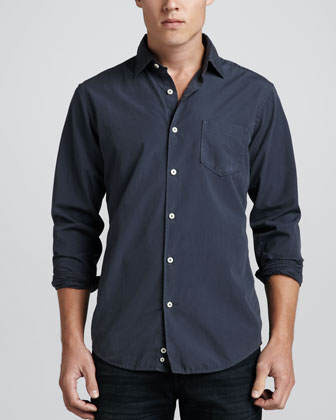 Long-Sleeve Poplin Shirt, Graphite