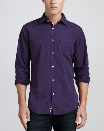 Long-Sleeve Poplin Shirt, Dark Purple