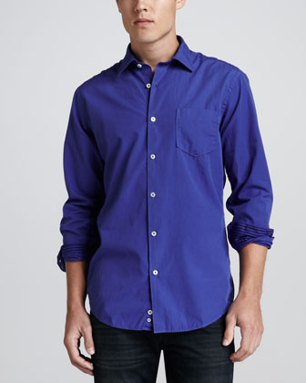 Cotton Stripe-Cuff Shirt, Dark Blue