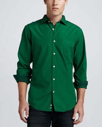 Long-Sleeve Poplin Shirt, Emerald