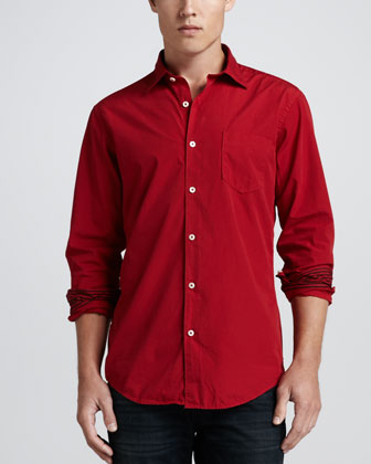 Long-Sleeve Poplin Shirt, Scarlet