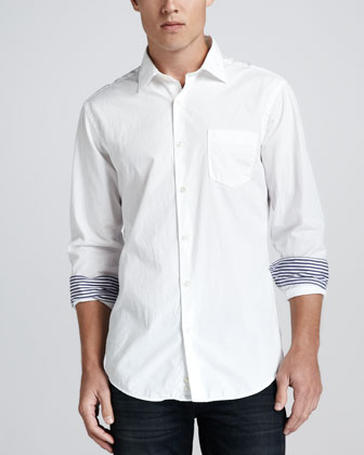 Long-Sleeve Poplin Shirt, White