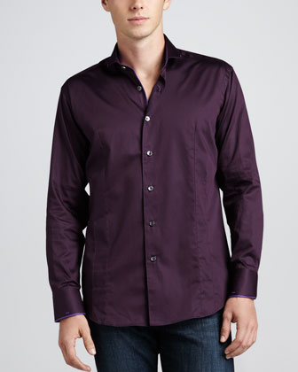 Giorgio B Solid Sport Shirt, Purple