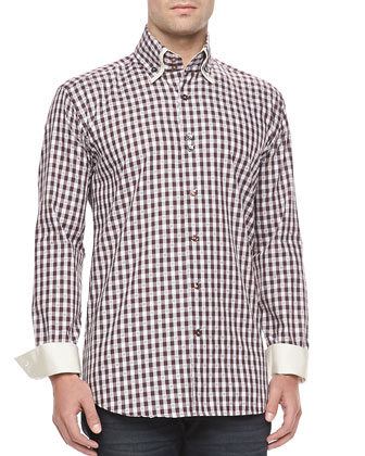 Yunus 95 Sport Shirt, Burgundy Check