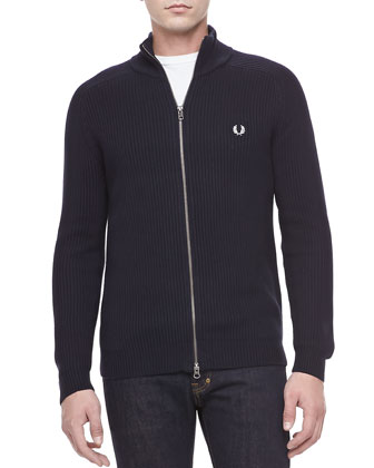 Raglan Sleeve Zip Cardigan, Navy