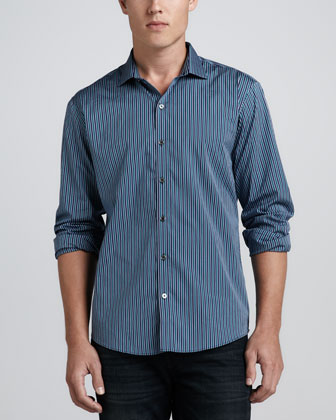 Kravetz Tri-Tone Striped Shirt, Navy