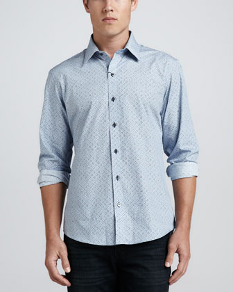 Bassett Box-Print Sport Shirt, Blue