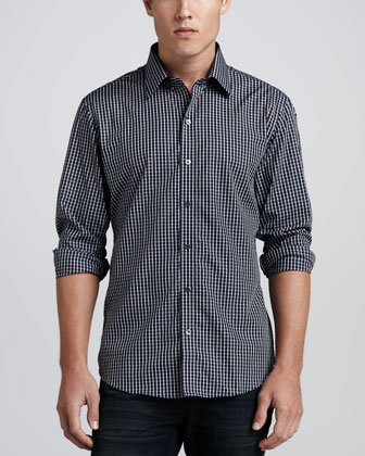 Tyron Check Sport Shirt, Navy