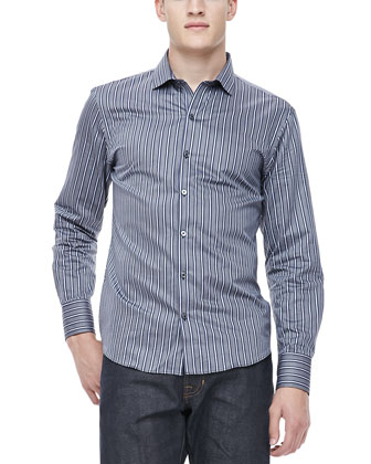 Multi-Stripe Sport Shirt, Navy