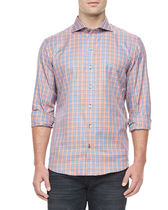 Plaid Sport Shirt, Orange