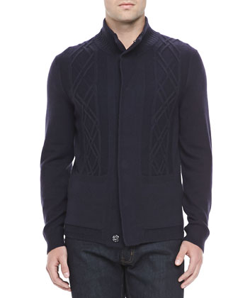 Breckenridge Mixed-Knit Snap-Front Sweater