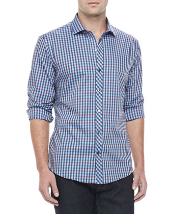 Large-Check Sport Shirt, Blue