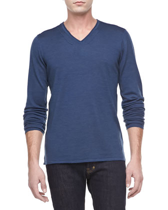 Long-Sleeve V-Neck Sweater, Blue