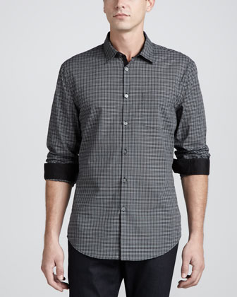Contrast-Placket Check Shirt, Wine