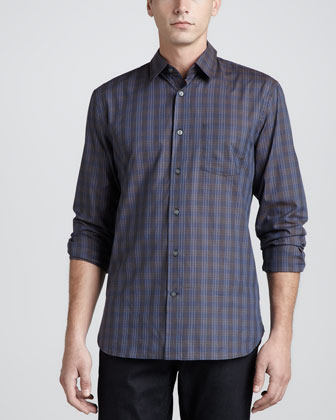Contrast-Placket Check Shirt, Blue/Brown